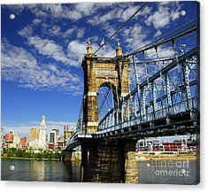 The Suspension Bridge Acrylic Print by Mel Steinhauer