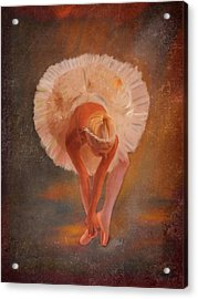 The Swan Warming Up Acrylic Print by Angela A Stanton