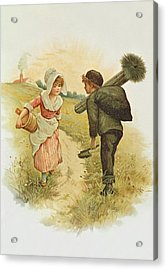 The Sweep And The Milkmaid Book Illustration Acrylic Print by Anonymous