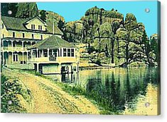 The Sylvan Lake Hotel In Ouster Sd C.1910 Acrylic Print by Dwight Goss