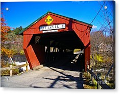 The Taftsville Covered Bridge.  Acrylic Print by New England Photography