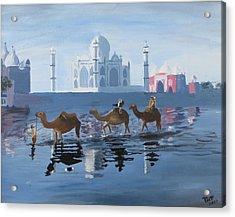 The Taj Mahal And The Yamuna River Acrylic Print