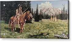 The Tetons Early Tribes Acrylic Print by Wanda Dansereau