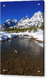 The Tetons In Winter Above Cottonwood Acrylic Print
