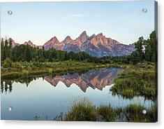 The Tetons Reflected On Schwabachers Landing - Grand Teton National Park Wyoming Acrylic Print