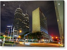 The Texas Medical Center At Night Acrylic Print by Tim Stanley