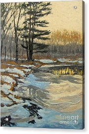 The Thawing Pond - Hudson Valley Acrylic Print by Gregory Arnett
