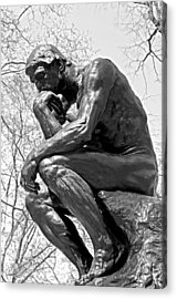 The Thinker In Black And White Acrylic Print by Lisa Phillips