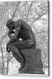 The Thinker - Philadelphia Bw Acrylic Print