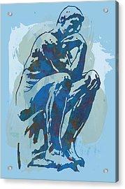 The Thinker - Rodin Stylized Pop Art Poster Acrylic Print by Kim Wang