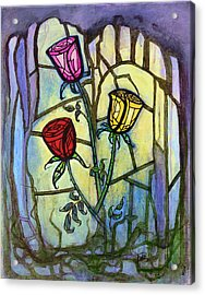 Acrylic Print featuring the painting The Three Roses by Terry Webb Harshman