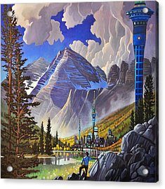 Acrylic Print featuring the painting The Three Towers by Art James West