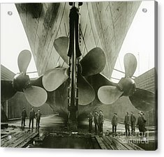 The Titanics Propellers In The Thompson Graving Dock Of Harland And Wolff Acrylic Print by English Photographer