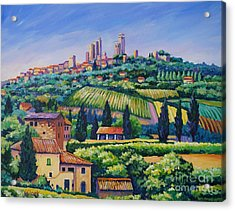 The Towers Of San Gimignano Acrylic Print by John Clark