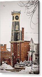 The Town Clock In December Acrylic Print