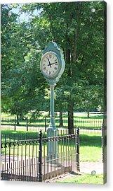 The Town's Clock Acrylic Print by Brenda Donko