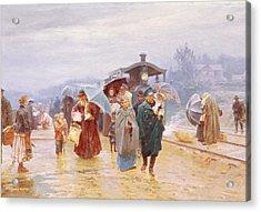 The Train Has Arrived, 1894 Acrylic Print by Nikolaj Alekseevich Kasatkin