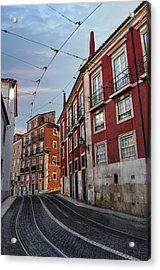The Tram Stop Lisbon Acrylic Print by Carol Japp
