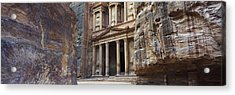 The Treasury Through The Rocks, Wadi Acrylic Print by Panoramic Images