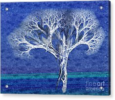 The Tree In Winter At Dusk - Painterly - Abstract - Fractal Art Acrylic Print by Andee Design