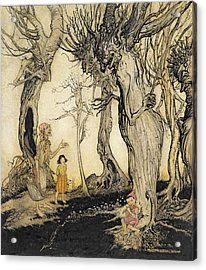 The Trees And The Axe, From Aesops Acrylic Print by Arthur Rackham