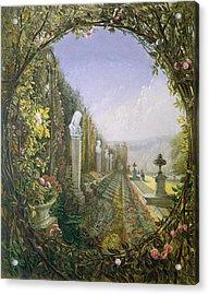 The Trellis Window Trengtham Hall Gardens Acrylic Print by E Adveno Brooke