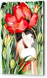 Acrylic Print featuring the painting The Tulip by Anna Ewa Miarczynska