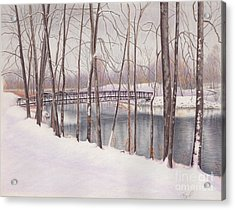 The Tulip Tree Bridge In Winter Acrylic Print by Elizabeth Dobbs