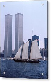 The Twin Towers With The Schooner America 4th July 1976 Acrylic Print by Terence Fellows