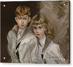 The Two Children Acrylic Print by Giovanni Boldini