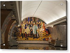 The Underground 2 - Victory Park Metro - Moscow Acrylic Print by Madeline Ellis
