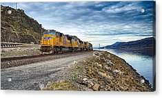The Union Pacific Railroad Columbia River Gorge Oregon Acrylic Print by Michael Rogers