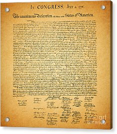 The United States Declaration Of Independence - Square Acrylic Print by Wingsdomain Art and Photography