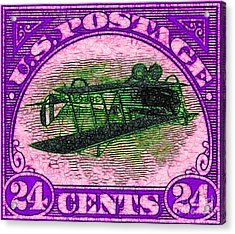The Upside Down Biplane Stamp - 20130119 - V2 Acrylic Print by Wingsdomain Art and Photography