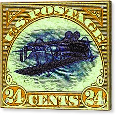The Upside Down Biplane Stamp - 20130119 - V3 Acrylic Print by Wingsdomain Art and Photography