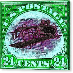 The Upside Down Biplane Stamp - 20130119 - V4 Acrylic Print by Wingsdomain Art and Photography