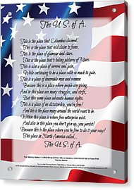 The U.s.a. Flag Poetry Art Poster Acrylic Print by Stanley Mathis