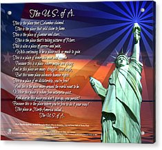 The Usa Statue Of Liberty Poetry Art Poster Acrylic Print by Stanley Mathis