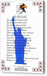The Usa Statue Of Liberty Poetic Art Poster Acrylic Print by Stanley Mathis