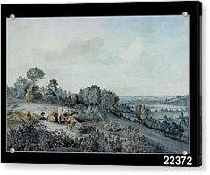 The Valley Of The Stour, Looking Towards East Bergholt, 1880 Pencil, Pen And Ink And Watercolour Acrylic Print