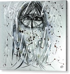 Acrylic Print featuring the mixed media The Veiled Woman by Karo Evans