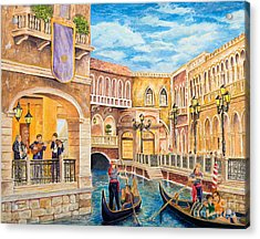 Acrylic Print featuring the painting The Venetian Canal  by Vicki  Housel