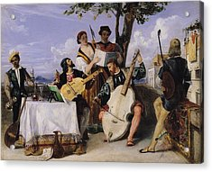 The Venetian Concert Oil On Panel Acrylic Print by Alexandre-Jean-Baptiste Hesse
