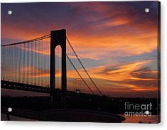 The Verrazano-narrows Bridge St Sunrise Acrylic Print