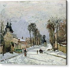 The Versailles Road At Louveciennes Acrylic Print by Camille Pissarro