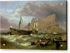 The Victory Towed Into Gibraltar Acrylic Print by Clarkson R A Stanfield