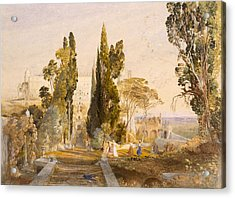 The Villa Deste, Tivoli, 1837 Acrylic Print by Samuel Palmer