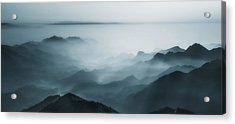 The Village In The Morning Mist Acrylic Print