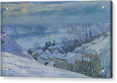 The Village Of Herblay Under Snow Acrylic Print by Albert-Charles Lebourg