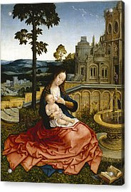 The Virgin And Child By A Fountain Acrylic Print by Bernard van Orley